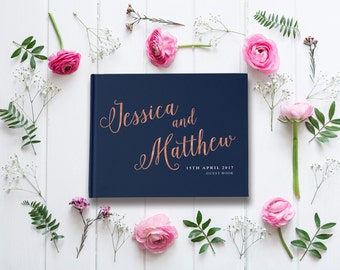 navy and blush wedding guest book navy blue and pink wedding navy and rose