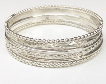 Sterling Silver Bangle Set of (6) - Heavy Set of Sterling Silver Bangles Design Assortment of Six - Sterling Stacking Bracelets - Marked 925
