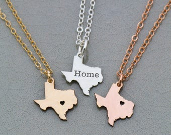 SALE • Texas Necklace • Texas State •Personalized Texas Jewelry •Hometown •Going Away Gift •Custom Texas Gift • Personalized State Gift Idea