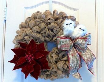Burlap Christmas Wreath with White Owls, Poinsettia & Christmas Bow