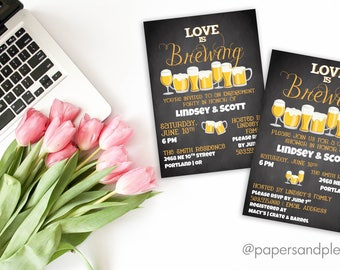 """Engagement Party or Couple's Shower """"Love is Brewing"""" Invite 