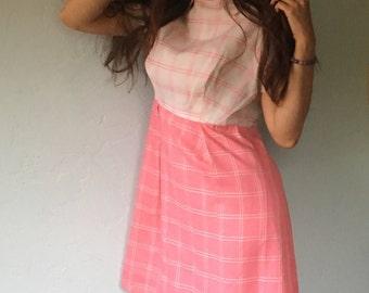Vintage Mod 1960s Pink & White Babydoll Dress