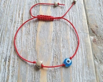 Evil eye bracelet, Tiny heart charm bracelet, Red nylon string bracelet, Wish bracelet, Friendship bracelet, Dainty bracelet