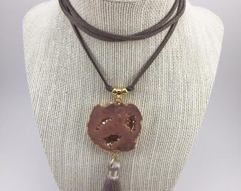 Peach Druzy Geode with Tassel Suede Wrap Choker Necklace