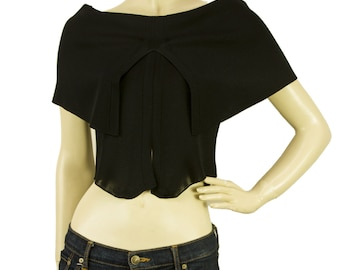 Gianfranco Ferre Black Cropped Back Slit Top Blouse Sz 40