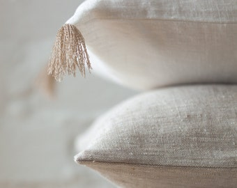 Light natural luxury linen pillow / stonewashed linen pillows / decorative linen pillow cover /linen cushions/linen pillow case/linen fabric