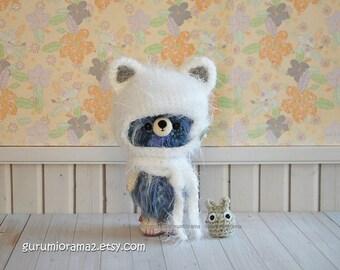 fuzzy Bear in kitty helmet hat, kawaii amigurumi crochet bear, blue mix plush stuffed bear, mini green chibi totoro