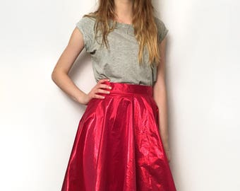 Prom Queen Circle Skirt UK Size 10-12 - hot pink shiny sparkly metallic neon high waist fuscia magneta handmade by The Emperor's Old Clothes