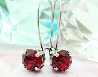 Ruby Rhinestone Earrings, Ruby Red Crystal Earrings, Antiqued Silver Swarovski Earrings, July Birthstone, Red Dangle Long Earrings, E3043