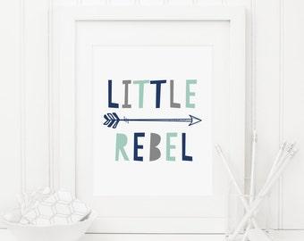 Little Rebel Printable Tribal Arrow Print Boy Nursery Decor Rebel Wall Art Navy Nursery Decor Mint Nursery Gray Nursery Quote Arrow Wall Art