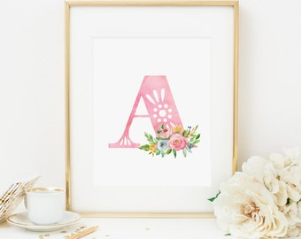Initial Printable Letter A Nursery Monogram Print Nursery Letters Spring Floral Initial Print Pink Initial Wall Art Pink Flowers Girl 233