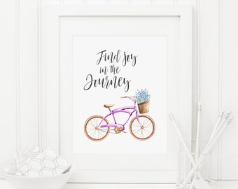 Find Joy In The Journey Printable Bicycle Quote Print Positive Inspiration Motivational Wall Art Inspirational Quote Bicycle Wall Art Purple