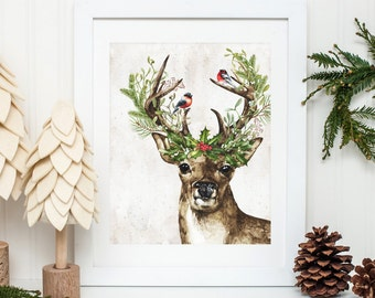 Woodland Deer Printable Christmas Deer Wall Art Christmas Decoration Holiday Decor Christmas Decor Winter Decor Deer Prints Holly Berries