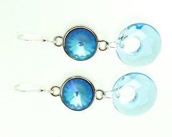 Blue Crystal Earrings with Sterling Silver