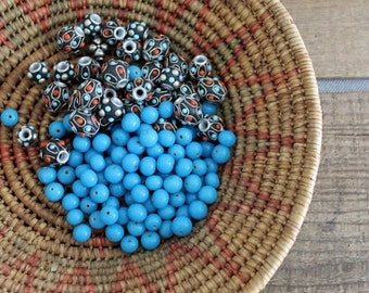 Mixed Lot Of Kashmiri and Glass Beads Handmade In India