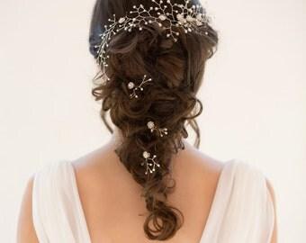 Bride hair piece, hair vine, freshwater pearls, Swarovski crystal, halo, leaf vine, bridal hair piece, hair accessory, bride hair accessory