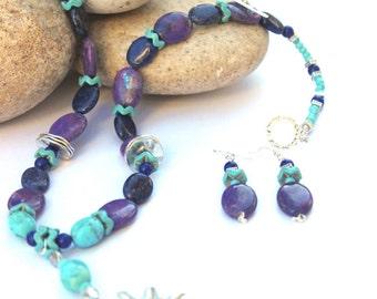 Kingman Turquoise  - Purple Mojave Turquoise necklace - Mohave Turquoise necklace - Turquoise Statement - Free shipping - Fiesta Jewelry
