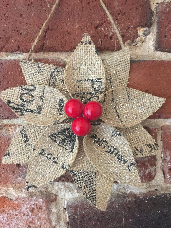 Burlap poinsettia christmas ornaments rustic christmas for Burlap christmas decorations to make