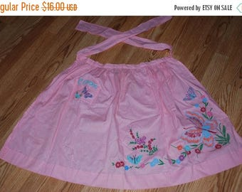ON SALE Vintage Pink Apron Flowers are Painted Cook on Pocket