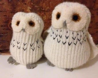 Mama/Papa Wool Snowy Owl Stuffed Animal, Fiber Art Toy, Soft Sculpture