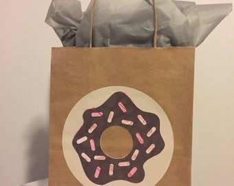Chocolate Sprinkled Donut Kraft Paper Gift Bag