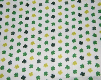 BTY St Patrick's Day SHAMROCKS on White Print 100% Cotton Quilt Craft Fabric by the Yard