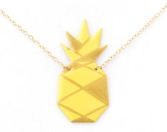 Origami pineapple yellow or white and silver or gold pendant