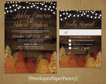 Romantic Rustic Fall Wedding Invitation,Fall Trees,Fall Leaves,Fall Colors,Barn Wood,Glowing Fairy Lights,Gold Print,Shimmery,Printed
