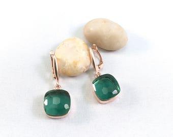 Earrings Prasiolite (green amethyst) in in rose gold vermeil