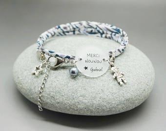 "bracelet liberty cabochon ""Merci Nounou"" + prénom étoile - bijou personnalisable - cadeau nounou babysitter atsem"