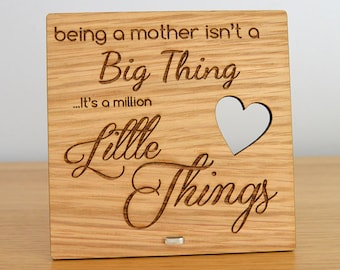 Being A Mum Is A Million Little Things Unique Wooden Mothers Day Plaque Gift