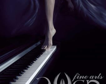 Original Fine Art  photo print of a naked woman's feet dancing on the piano keyboard in a flowing deep blue skirt.
