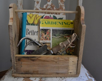 Vintage Gardener Gift-Gardener Gift Basket-Rustic wooden box-Hand made Pallet Tool Tote-Better Homes and Gardens Book-Garden Tools