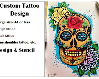 Custom Tattoo Design- Large A4 size or less- Design and Stencil - Arm/shoulder, thigh, back tattoo, etc