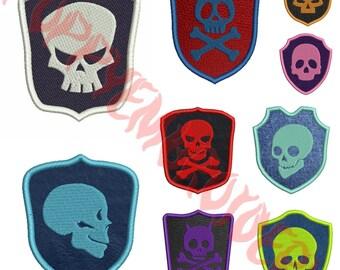 SKULL patch Design for Embroidery machine / tete de mort ecusson motifs pour broderie machine / INSTANT DOWNLOAD