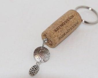 Keychain Recycled Wine Cork Pine Cone