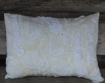 White Lace Pillow Cover, Vintage Style Cushion Cover, White Nunofelt Cushion Cover