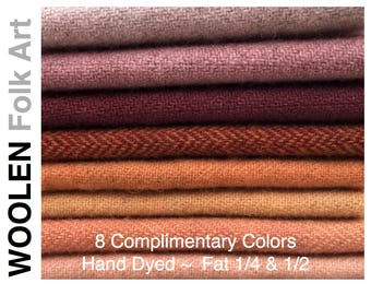 Bundle No.10;Hand Dyed Wool;Applique;Rug Hooking;Penny Rug;Felted Wool;Fat Quarter;Fat Half Yard; 8 Color Bundle of Wool