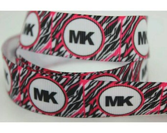 Pink and black zebra MK style 7/8 inch Grosgrain Ribbon