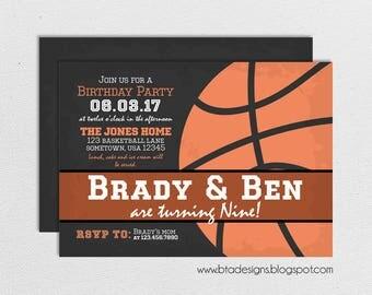Basketball Party Invitation 1, Customized, Digital File
