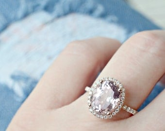 3.55 Ct. Oval Cut Morganite & Diamond Engagement Ring on 14K Rose Gold