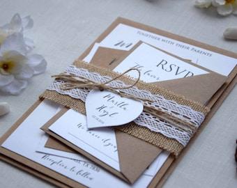 Rustic Lace Wedding Invite, Simple Wedding Invitation, Lace Invitation, Personalized Wedding Invitation, Country Wedding Invitation - SAMPLE