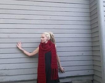 Crimson oversized scarf
