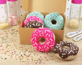 Toy for children   Box of Donuts. Hand-made crochet in amigurumi