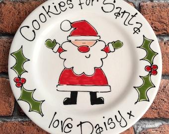 Personalised Hand Painted Ceramic Cookies for Santa Christmas Eve Plate