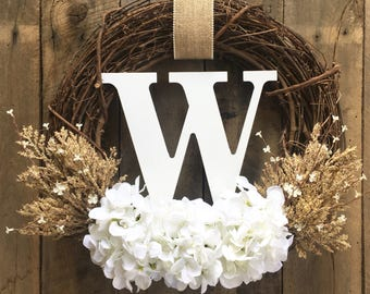 Monogram Wreath, Summer Door Wreath , Wreath, Front Door Wreath, Summer Wreath, Wedding Decor, Wedding Wreath, Letter Wreath, White Wreath