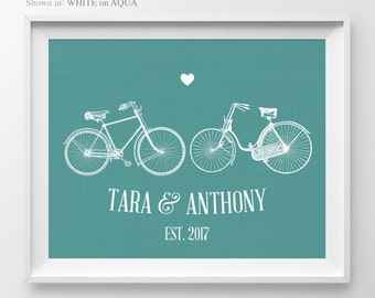 1 Year Anniversary Gift Couple Bicycle Print Anniversary Sign Engagement Gift Bicycle Print Couple Engagement Gift For Wife Bicycle Decor