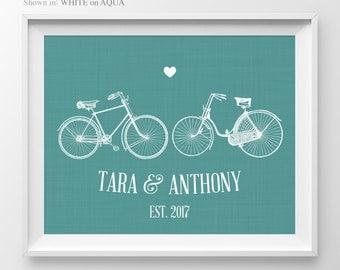 1 Year Anniversary Gift Couple Bicycle Print Anniversary Sign Engagement Gift Bicycle Print Couple Engagement Gift For Wife Bicycle Decor