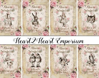 8 Alice in Wonderland Digital Quote Cards - Download,Printable,Tags,Toppers,Crafts,Scrapbooking
