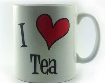 I Love Tea Mug gift present cup work teabags tea lover